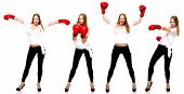 Young Beautiful Fashion Woman Boxing Isolated On White Backgroung