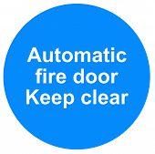 Automatic fire door sign