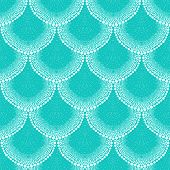 Pattern in art deco style in tropical aqua blue