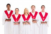 church choir singing from hymnal isolated on white background