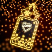pic of pop star  - popping wonderful christmas card with heart with stars sign on black background with glaring stars - JPG