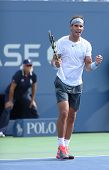 Twelve times Grand Slam champion Rafael Nadal celebrates victory after third round match at US Open