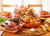 Festive Thanksgiving day dinner, celebration holiday at home, traditional homemade tasty dishes, bea