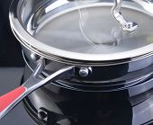 Frying pan at the induction stove