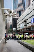 SINGAPORE - NOVEMBER 5:  Security cameras in the city center Raffles Place on November 5, 2012 in Si