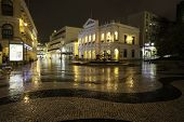 MACAU - OCTOBER 30: Night view in rain on the Historic Center of Macao - Senado Square on October 30