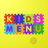 Kids Menu cover - alphabet puzzle. Vector.