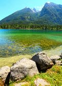 Pure water in a beautiful alpine lake. Hintersee Lake, Bavarian Alps in the Berchtesgaden National P