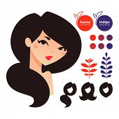 Natural hair dyes henna and indigo icons