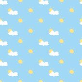 Seamless summer vector pattern, background or texture with yellow sun and white clouds on blue sky