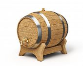 Wooden oak brandy wine beer barrel iwith valve tap solated on white background
