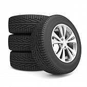 Set of car winter tires isolated on white background