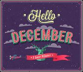 Hello December Typographic Design.