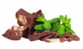 Pile Of Delicious Black Chocolate With Mint