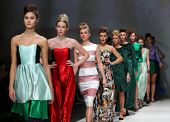 ZAGREB, CROATIA - NOVEMBER 23: Fashion models wearing clothes designed by Vjera Vilicnik on the Zagr