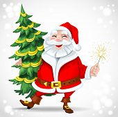 Cute Santa Claus Holding Christmas Tree