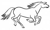 Running horse outline - vector illustration