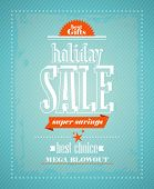 Holiday sale, super savings design in retro style.