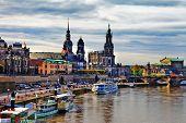 historic city center of Dresden and Elbe river in Saxony, Germa