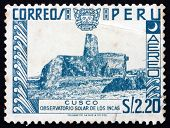 Postage Stamp Peru 1953 Inca Solar Observatory, Cusco