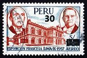 Postage Stamp Peru 1957 Presidents Coty And Prado
