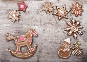 Christmas cake in the shape of a horse, Santa's sleigh, snowman, snowflake, glaze Gingerbread cookies