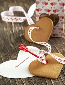 Card With Message Happy Valentine Day And Heart Shaped Cookies