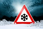 stock photo of slippery-roads  - night driving in winter  - JPG
