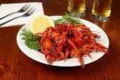 Boiled Crayfishes On White Plate