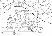 boys and girls picnic for colouring