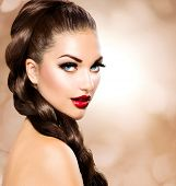 stock photo of brunette hair  - Hair Braid - JPG
