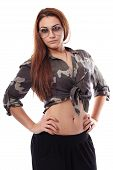 Sexy Woman Wearing Sunglasses, Army Shirt And Standing Akimbo
