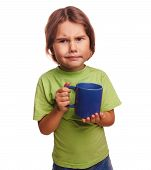 dissatisfied little girl child frowns upset emotions isolated on