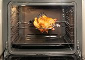Appetizing roast chicken in the oven.