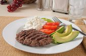 stock photo of high calorie foods  - A low carb diet meal with a grilled sirloin patty and avocado - JPG