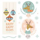 Set of Christmas lettering and graphic elements