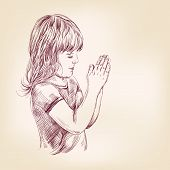 little girl praying hand drawn vector llustration