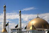 Mosque In Native Village Of First President Of Turkmenistan Niyazov. Hi Was Brought Here. Turkmenist