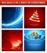 Christmas vector backgrounds set. Greeting cards, banners or invitations. Big sale 4 in 1 holiday il