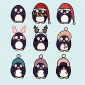 Penguins Cartoon Set