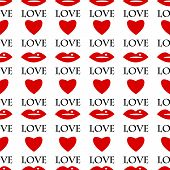 Seamless Pattern Of Red Lips And Hearts On A White Background.background For Valentine Day.vector