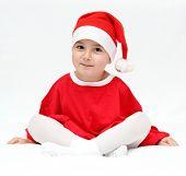 Beautiful Child In Santa Claus Hat