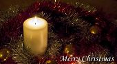 Christmas Candle And Tinsel - Merry Christmas!
