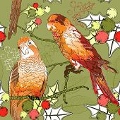 Seamless pattern with pair of budgies, plants and berries