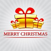 Merry Christmas With Golden Gift Boxes Over Silver Rays