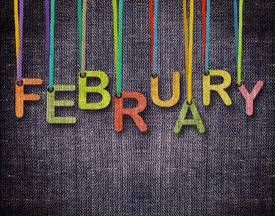 foto of february  - February letters hanging strings with blue sackcloth background - JPG