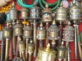 Nepalese hand drums with mantras, prayer tools