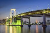 Tokyo, Japan at Tokyo Bay and Rainbow Bridge.