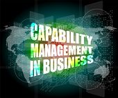 Capability Management In Business Words On Touch Screen Interface