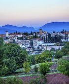 Granada Cityscape Churches Andalusia Spain From Oilve Gardens